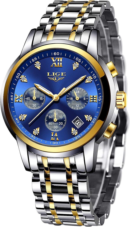 LIGE Reloj para Hombre Elegante Moda Cronógrafo Plata Acero Inoxidable Reloj de Pulsera Deportivo Cuarzo Analógico Impermeable Multifunción Casual Azul Reloj