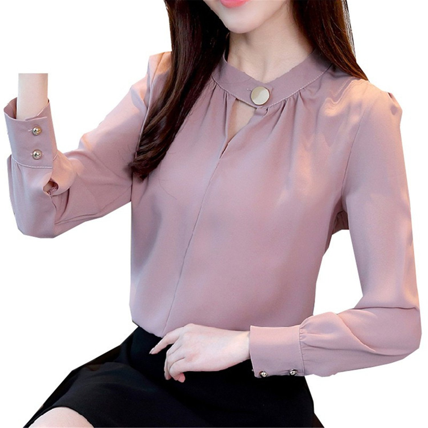 FANGZHENG 2018 Women Tops and Blouses Spring Long Sleeve Chiffon Blouse Women Casual V-Neck Solid Office Shirts at Amazon Womens Clothing store: