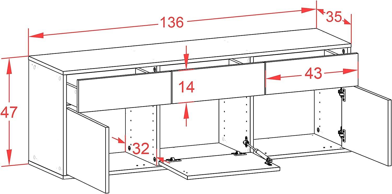 136x47x35cm hochwertige Leichtlaufschienen Lowboard Virginia Beach h/ängend Push-to-Open Front Beton Optik Korpus wei/ß matt