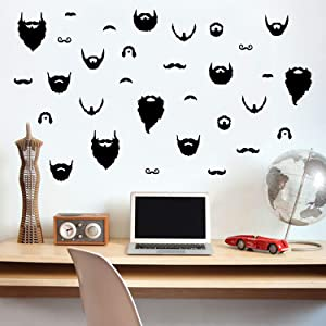 """Set of 31 Vinyl Wall Art Decals - Beards - from 1"""" to 6"""" Each - Rugged Urban Men's Manly Home Barbershop Bedroom Living Room - Lifestyle Minimalist Apartment Garage Work Pattern Decor"""