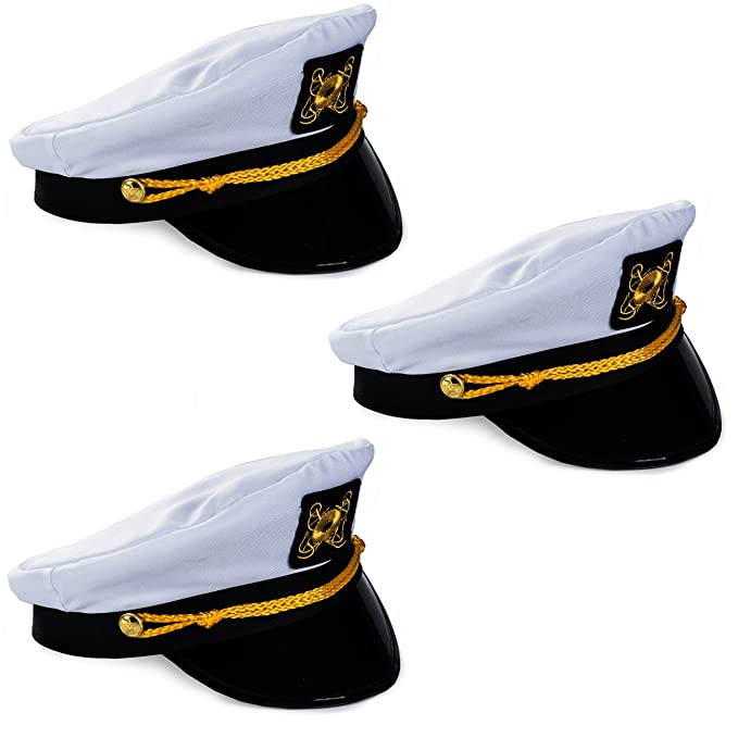 e6ef786f85b08 Amazon.com  Funny Party Hats Captain Hat - Yacht Boat Sailing Fishing Captains  Cap (2 Pack) by  Clothing