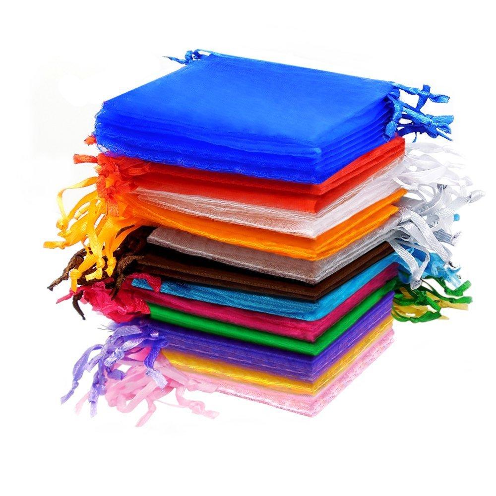 Hilai bomboniere sacchetti per gioielli, organza, multicolore, pezzi