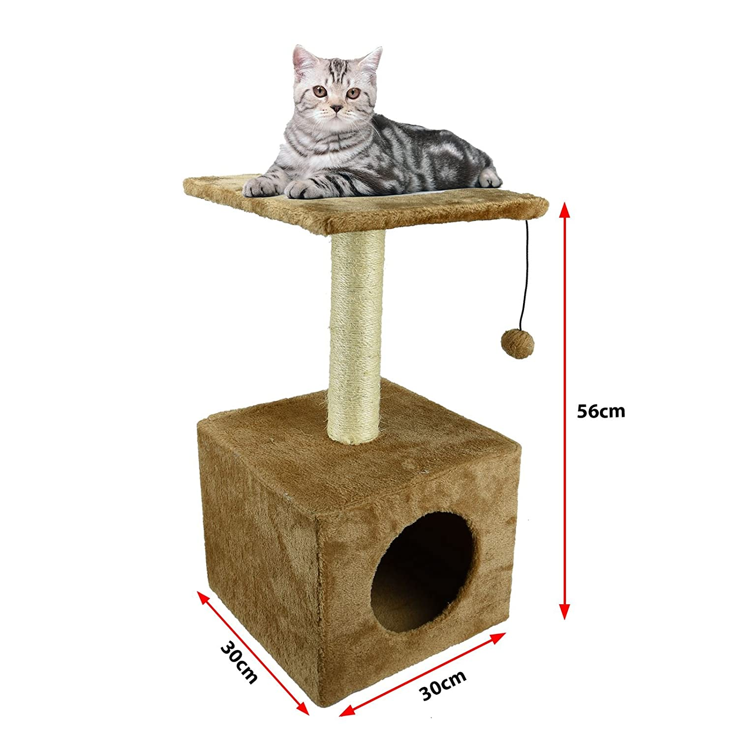 Brown ASAB Pet Cat Climbing Tree Play Furniture Kitten Resting Box Bed Home Platform Scratching Post With Hanging Soft Ball Toy