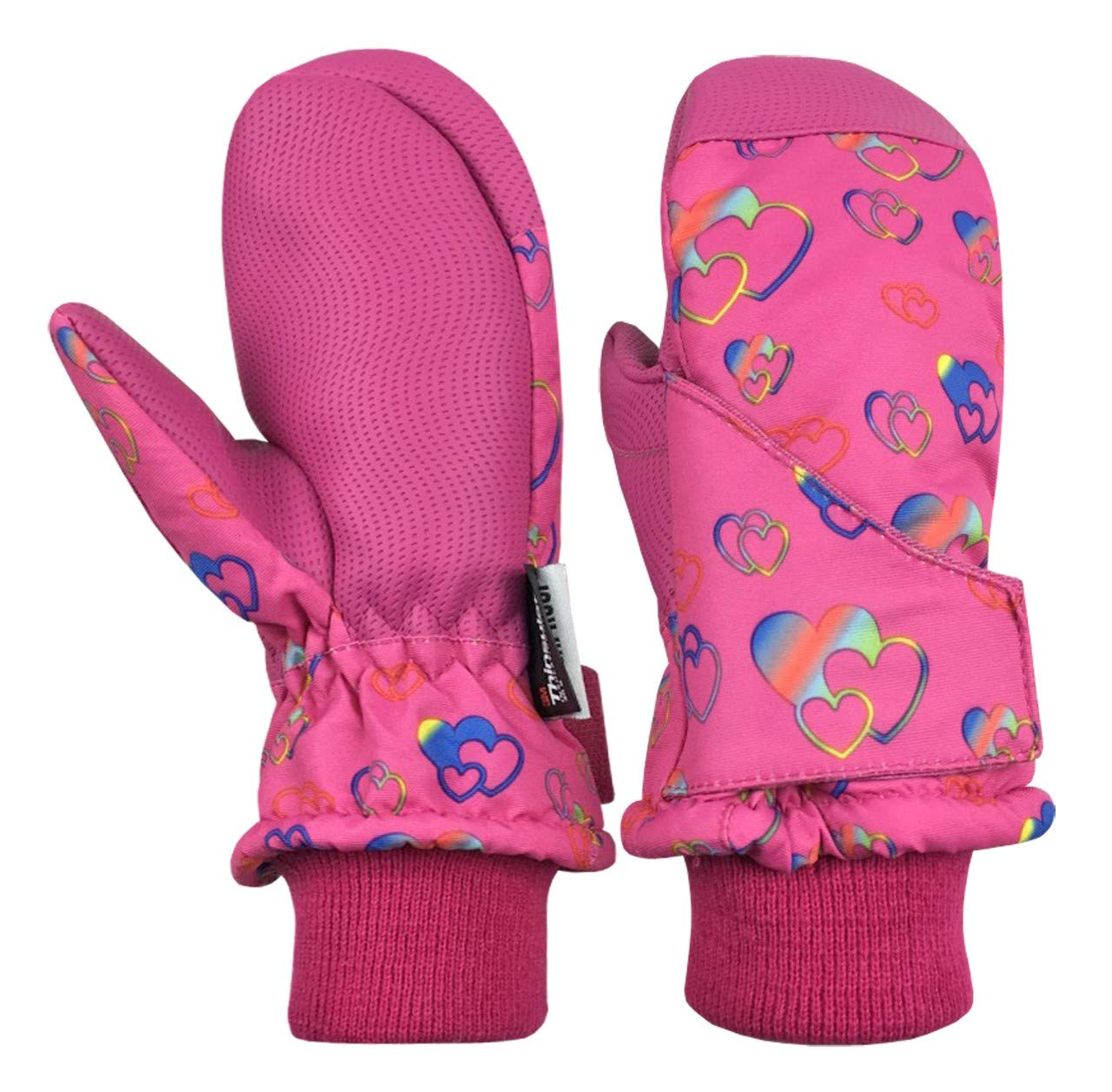 N'Ice Caps Kids and Baby Easy-On Wrap Waterproof Thinsulate Winter Snow Mitten (Fuchsia Hearts, 1-2 Years) by N'Ice Caps