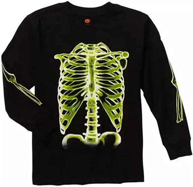 New With Tag Kids Boys Halloween Gothic Skull Skeleton T-Shirt Top Age 4-5