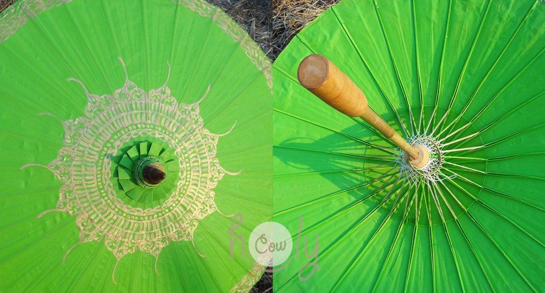 Hand Painted Green Cotton Waterproof Umbrella