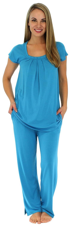 Kurzarm-Pyjama für damen von Sleepyheads aus atmungsaktiver Viskose mit taschen zweiteiliger schlafanzug