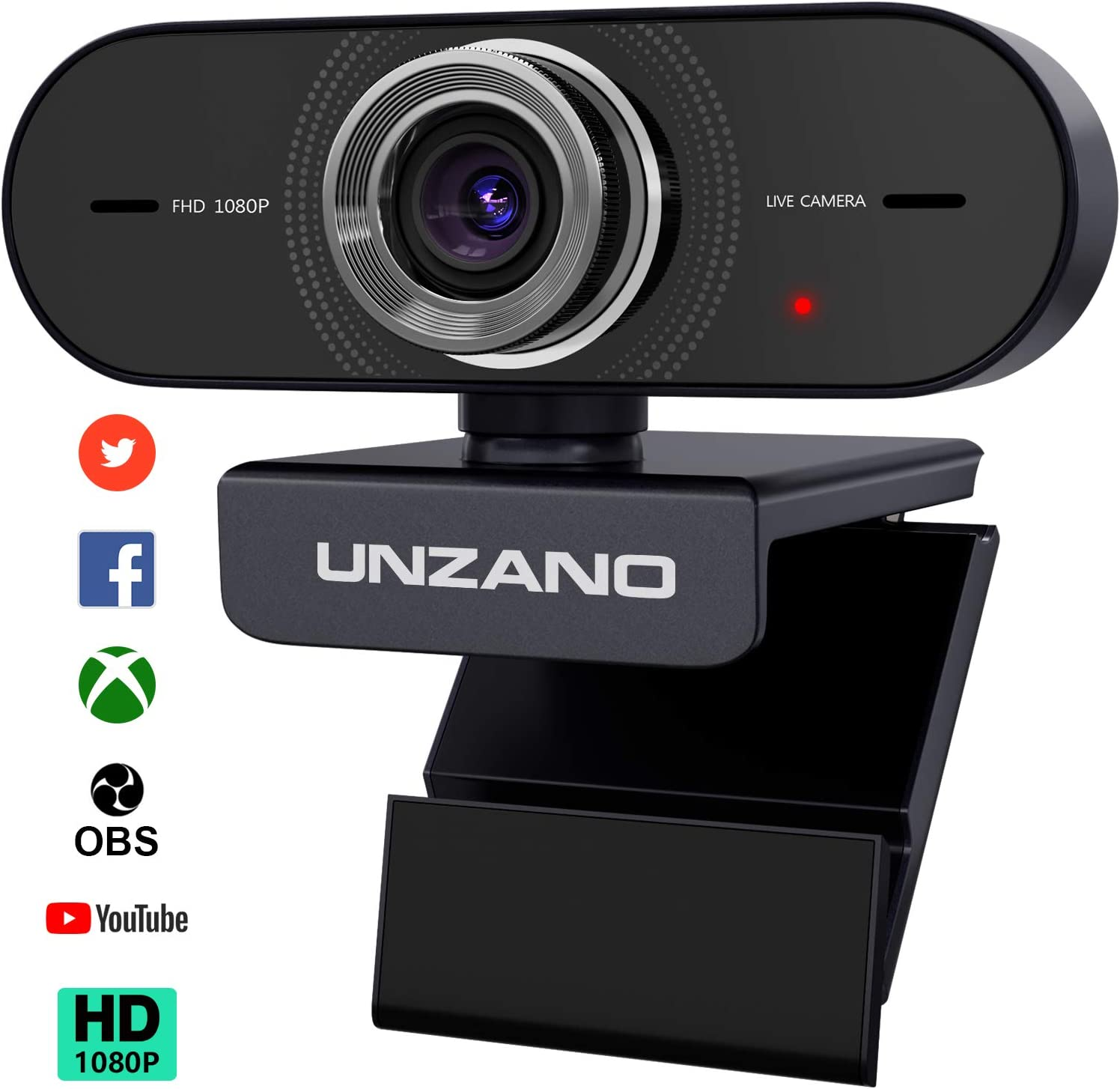 Unzano Webcam with Microphone HD 1080P - Computer Camera PC Laptop Mac Web Cam with Microphone for Gaming, Video Calling, Recording, Conferencing/Dual Mic, USB Plug & Play, 360 Degree Rotatable