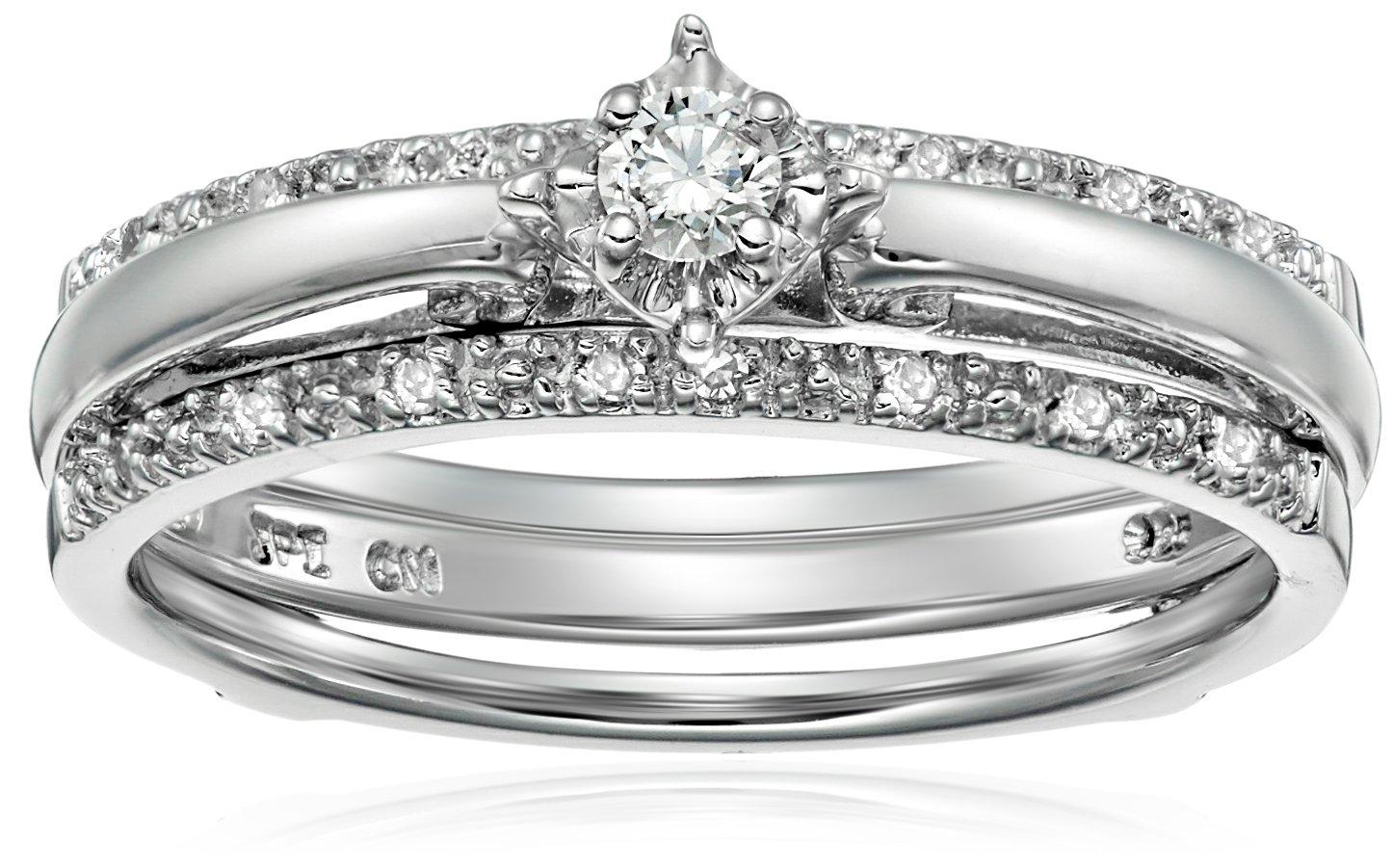Sterling Silver Diamond Bridal Set (0.14 cttw, I-J Color, I2-I3 Clarity), Size 7
