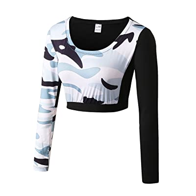 Women Camouflage Activewear Crop Top Long Sleeve Yoga Running Sports Fitness Workout Quick Dry Tight Tees