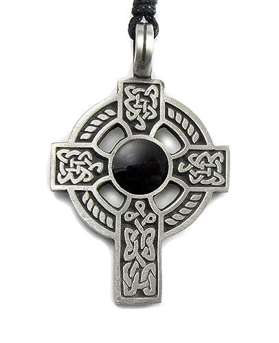 Pewter CELTIC Pendant with Gem on Adjustable Black Cord Necklace Nickel Free
