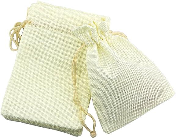 Homieco 50 Piezas Bolsas De Algodón Lino con Cordón Ajustable Bolsitas de Tela para Regalos Bolso De Cumpleaños para Joyas Favores Boda: Amazon.es: Hogar