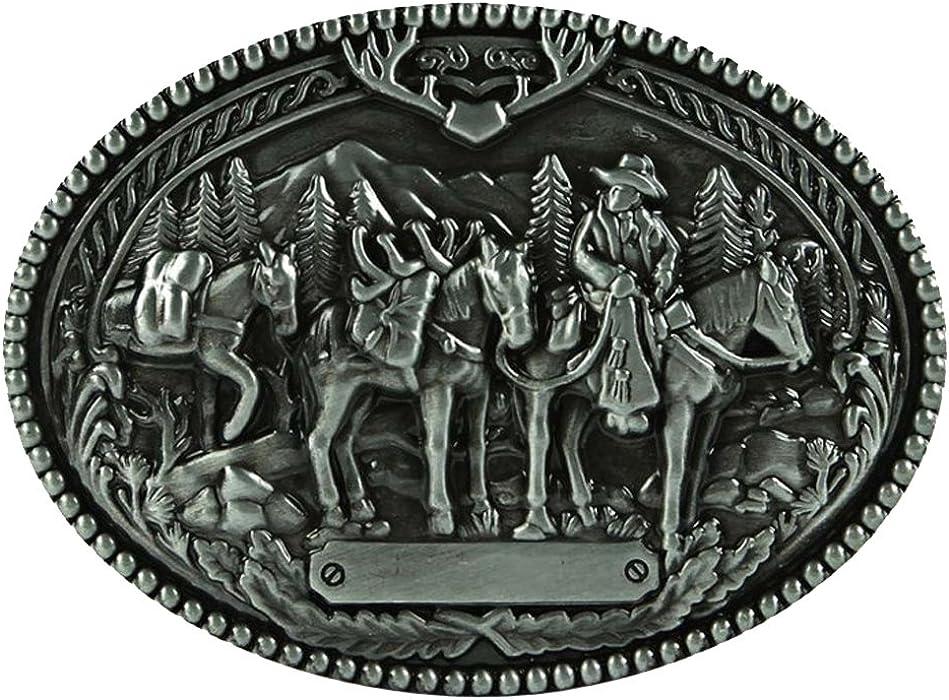Vintage Hip Hop Gothic Cowboy Western Zinc Alloy Oval Belt Buckle for Men/'s Gift