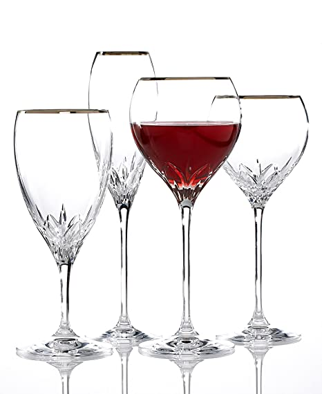 Wedgwood Knightsbridge Platinum Rim Stemware - Elegant crystal and platinum stemware will enhance your tablescape! | http://christmastablescapedecor.com/elegant-silver-table-setting/