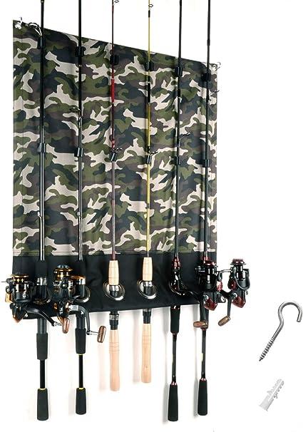 Fishing Rod Rack Mount Pole Reel Holder 6-Rods Wall Rack Wood Cabin Garage