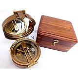 Trinidad Solid Brass Sighting Compass with Clinometer with Hardwood Box Marine 4 Brunton Compass Nautical Compass Gift Malla Inc Nautical Vintage Solid Brass Hand-Made Brunton Compass