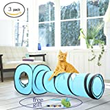Pawise Cat Toys Cat Tunnel Pop Up Collapsible Cat Cube Kitten Indoor Outdoor Toys with Kitten Collar