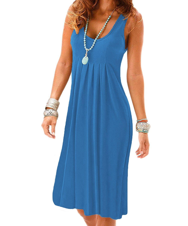 VERABENDI Women's Summer Casual Sleeveless Mini Plain Pleated Tank Vest Dresses Blue L