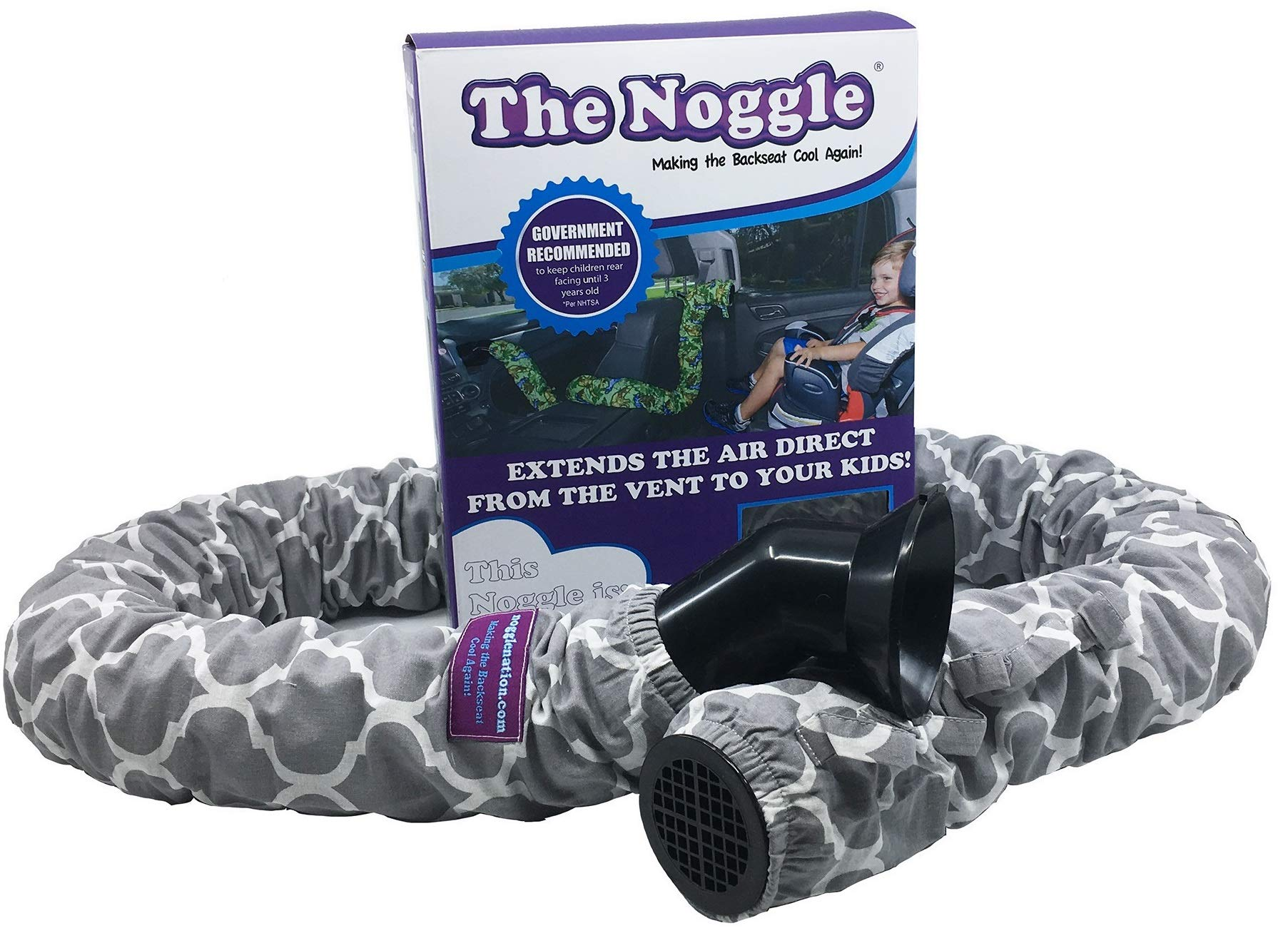 The Noggle - Making The Backseat Cool Again - Vehicle Air Conditioning System to Keep Your Kids Cool and Comfortable When Traveling in The Car - Works with Most Vehicles - 6ft, Grey Quatrefoil by NOGGLE