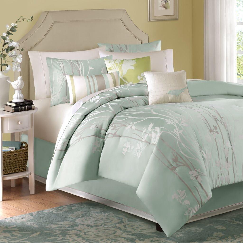 Madison Park Athena Queen Size Bed Comforter Set Bed in A Bag - Seafoam Green, Floral Jacquard – 7 Pieces Bedding Sets – Ultra Soft Microfiber Bedroom Comforters