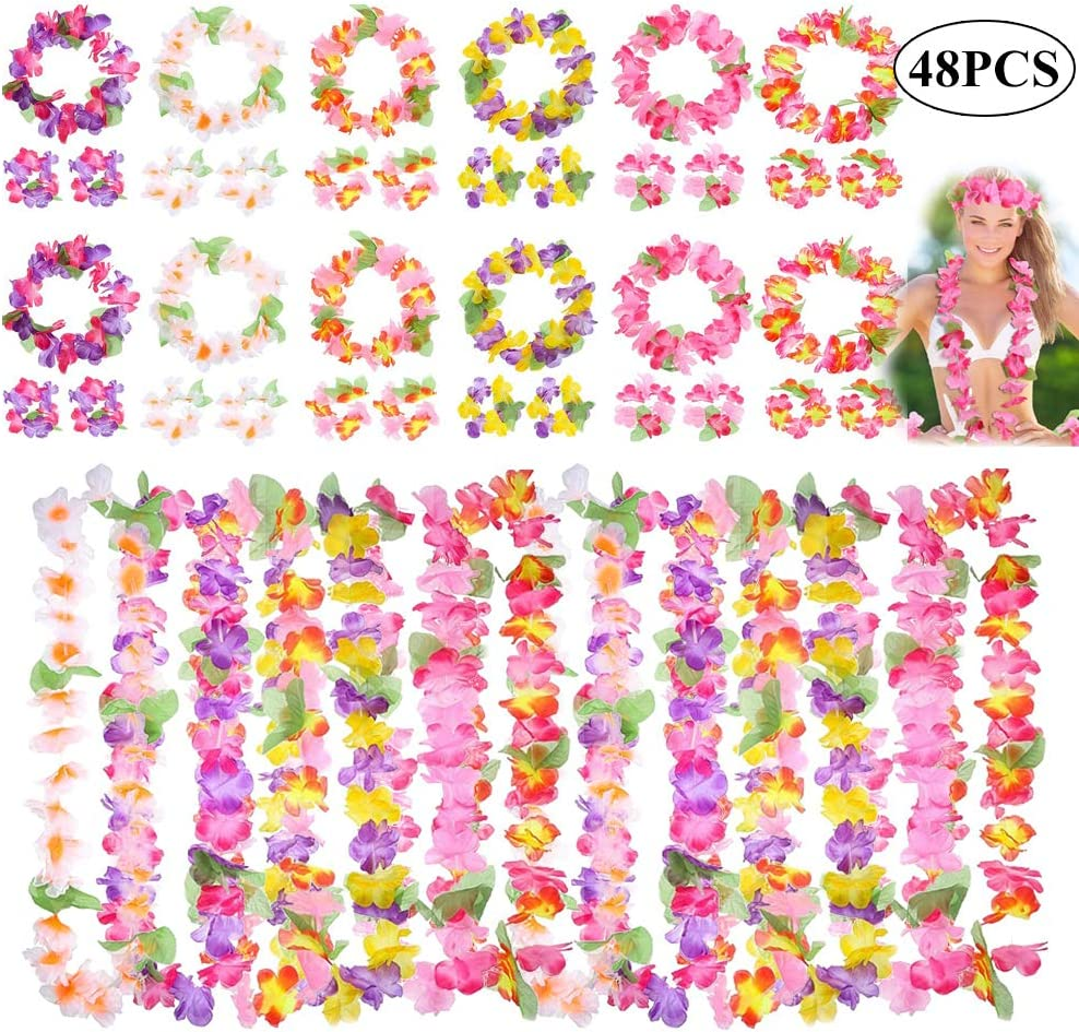 Hawaiian Lei Garland Flower Necklace Ladies Mens Tropical Fancy Dress Party DP