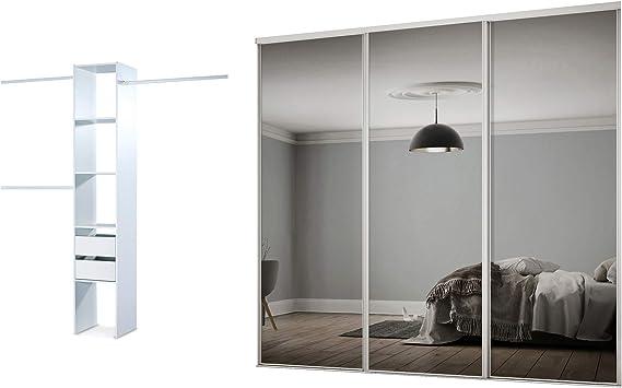 Estructura de armario con 3 puertas correderas de espejo (223,5 cm de ancho): Amazon.es: Hogar