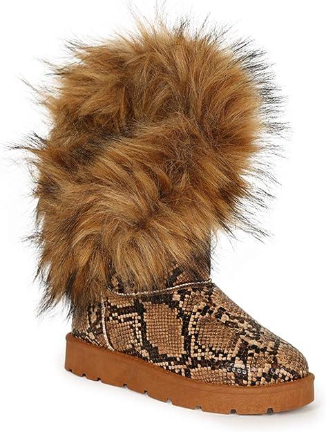Girls Ankle Boots Children Kids Infant Fur Lined Eskimo Collar Winter Shoes Size