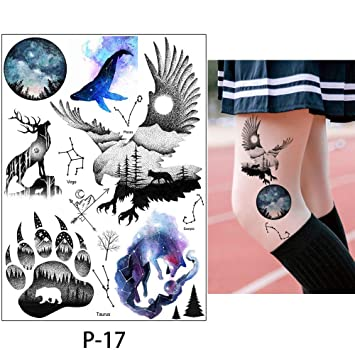 b11487c72 Decor Butterfly - 1x Diy Body Art Temporary Tattoo Colorful Animals  Watercolor Painting Drawing Horse Butterfly