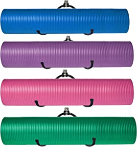 Pmsanzay Wall Mount Yoga Mat Foam Roller and Towel Rack Holder- Wall Storage Mount Wall Holder Storage Shelf for Your Fitness Class or Home Gym, Metal, Adjustable Size, Up to 20Lbs, (4 Pack)