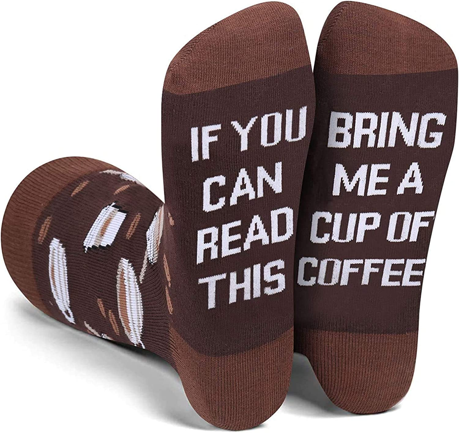 YEXIPO Novelty Funny Socks If You Can Read This Wine Socks Coffee Crew Cotton Socks for Men Women