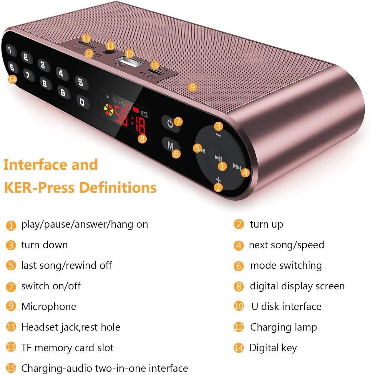 Altavoz Bluetooth Antimi, radio digital FM portátil, reproductor de MP3, altavoz inalámbrico portátil con potentes bajos incorporados, micrófono ...