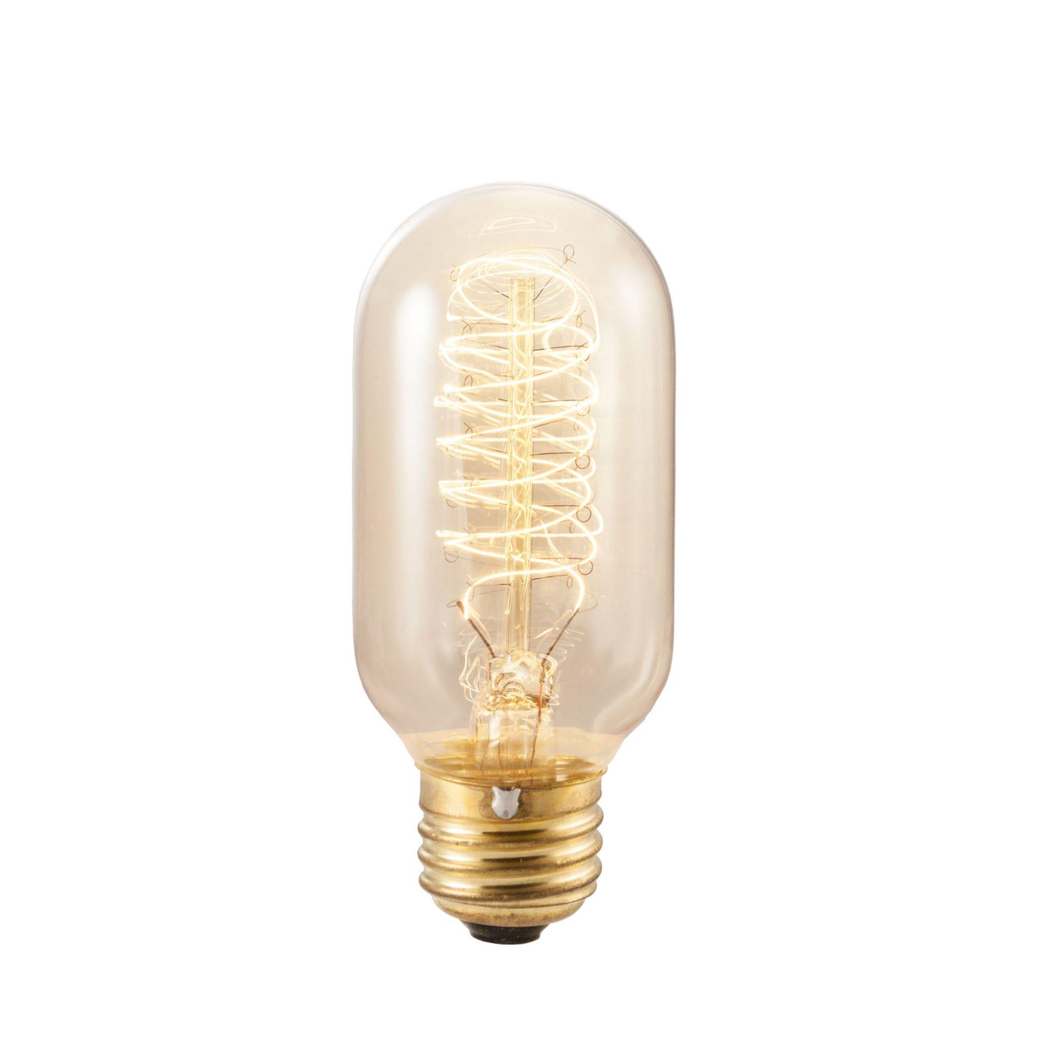 20 Qty. Bulbrite NOS40T14 40-Watt Nostalgic Incandescent Edison Torch Spiral T14, Medium Base, Antique Bulb