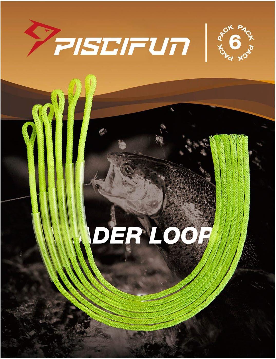 Piscifun 6er Pack geflochtene Vorfachschnur Loop Verbindungssystem f/ür Fly Line 20/30/50-Pound klar und High-Vis Gelb