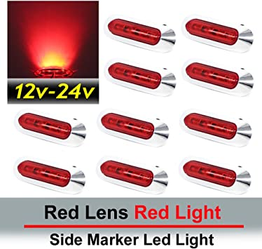 4 pcs TMH 3.6 Inch submersible 4 LED Clear White lens Red /& Amber Side Led Marker Boat Cab RV 2 + 2 10-30v DC Rear side marker light Truck Trailer marker lights Marker light amber