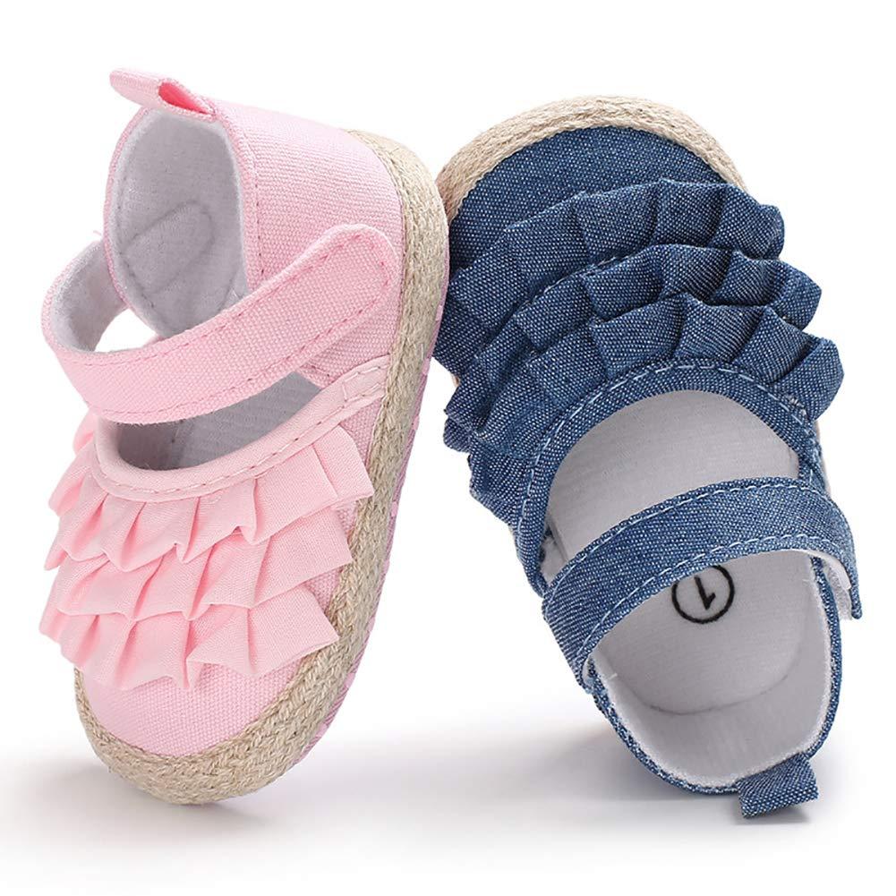 Alamana Fashion Infant Baby Girls Anti-Slip Soft Sole Princess Prewalker Toddler Shoes Blue 13 8-11M
