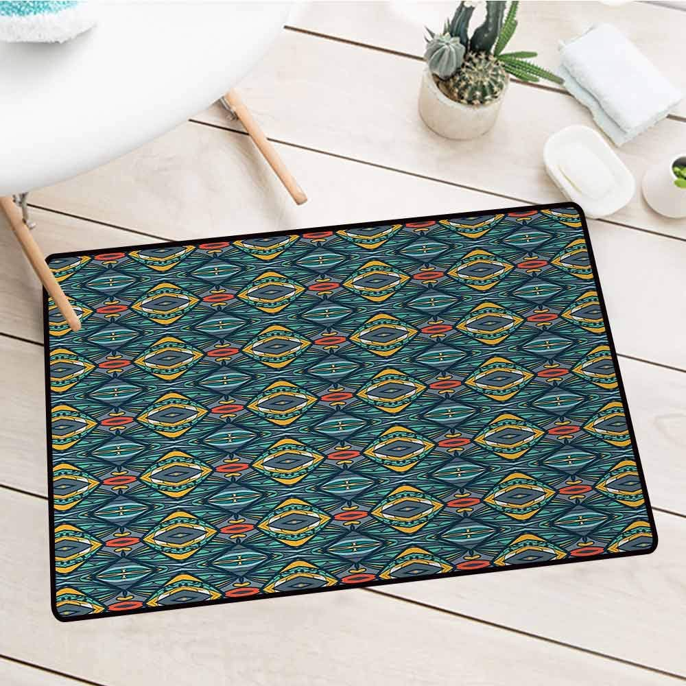 Wang Hai Chuan Abstract Front Door mat Carpet Diamond Shapes with Kaleidoscopic Effect and Folkloric Native Tribal Influences Machine Washable Door mat W31.5 x L47.2 Inch Multicolor by Wang Hai Chuan