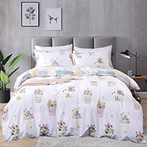 CLOTHKNOW Floral Duvet Cover Set Queen Cotton Botanical Bedding Set Full Girls Women Patchwork Plaid Duvet Cover Rerversible 3Pcs Comforter Cover Sets with Zipper Closure