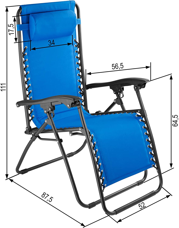 TecTake 800583 Disponibile in Diversi Colori Blu | No. 402930 Sedia da Giardino Regolabile e Pieghevole Elevato Comfort di Seduta