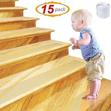 15 x Tira Adhesiva Antideslizante para Escaleras Transparente, 10 X 60CM Tiras Antideslizantes Autoadhesivas - Seguridad en el Hogar y al Aire Libre para Bebés, Niños, Adultos Mayores, Mascotas: Amazon.es: Bricolaje y herramientas