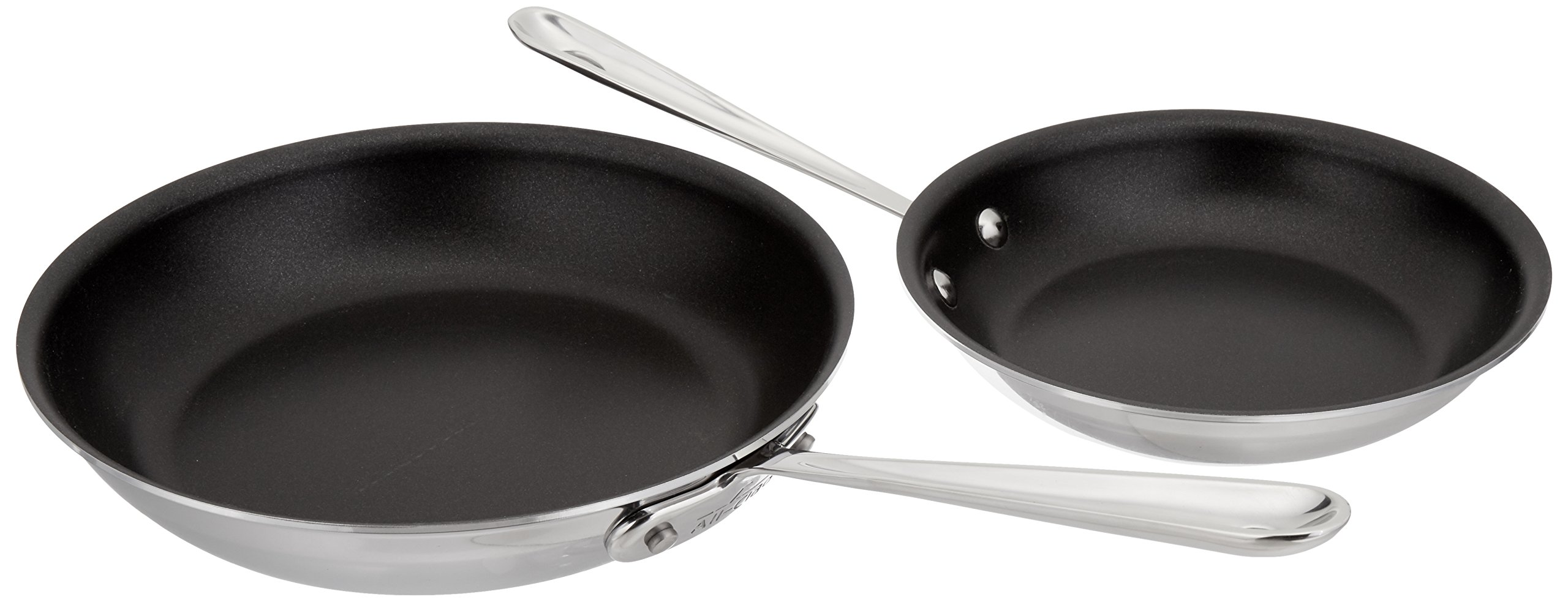 All-Clad 410810 NSR2 Stainless Steel Dishwasher Safe Oven Safe PFOA-free Nonstick 8-Inch and 10-Inch Fry Pan Set, 2-Piece, Silver by All-Clad
