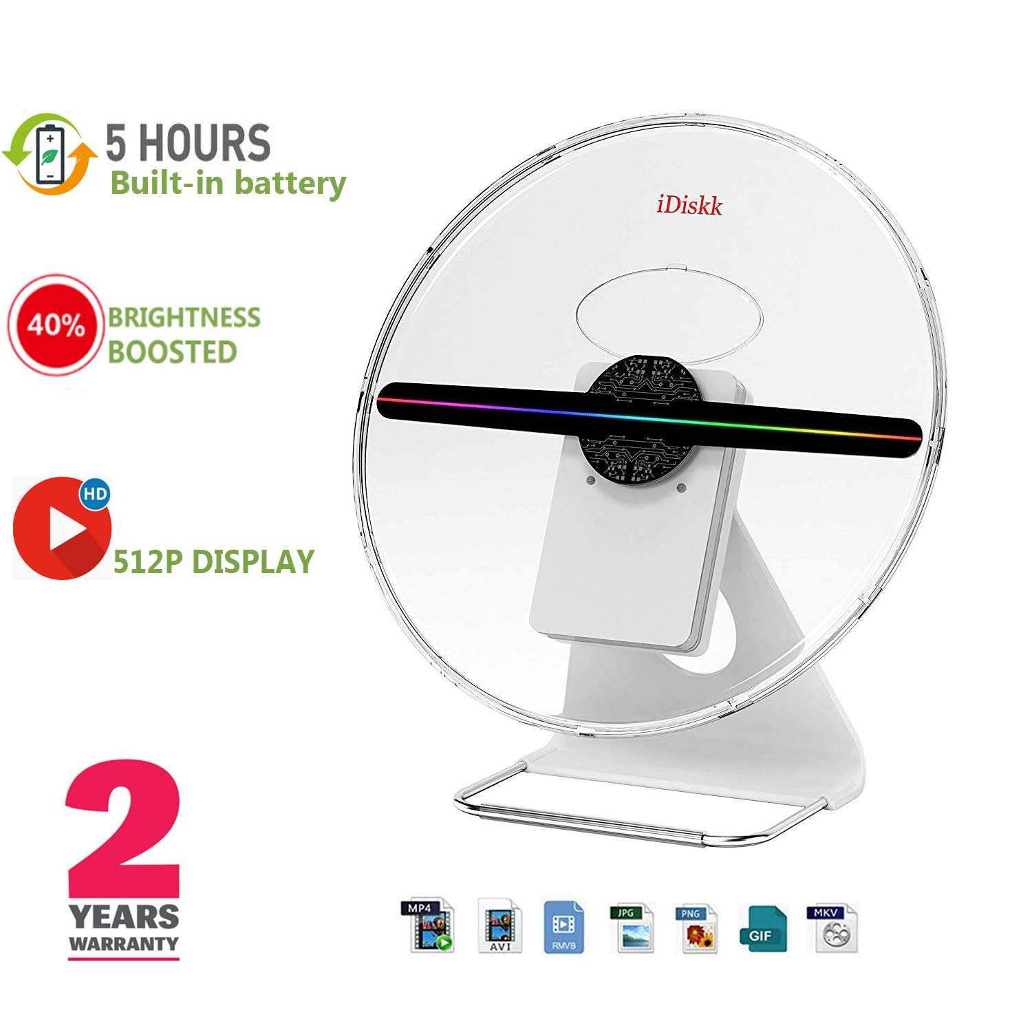 IDISKK Original 3D Hologram Fan 30CM Portable Holographic Display Projector Photo and 512P HD Video Advertising Projector Fan for Shops Office Business Home by iDiskk