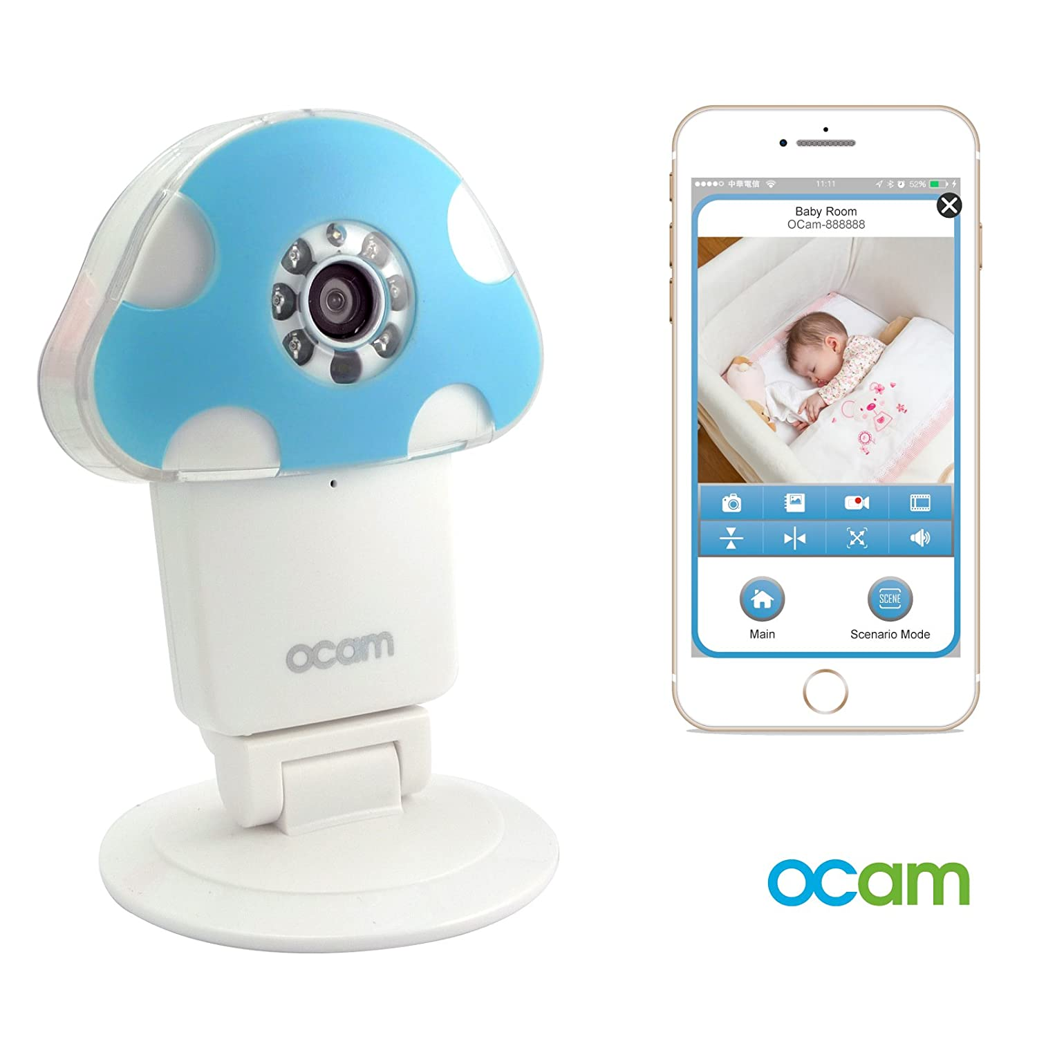 OCam-M1 Wi-Fi Wireless Baby Monitor Security Video Camera & Nanny Cam DVR iPhone iPad iOS Android(Blue) Ahoku Electronic Company