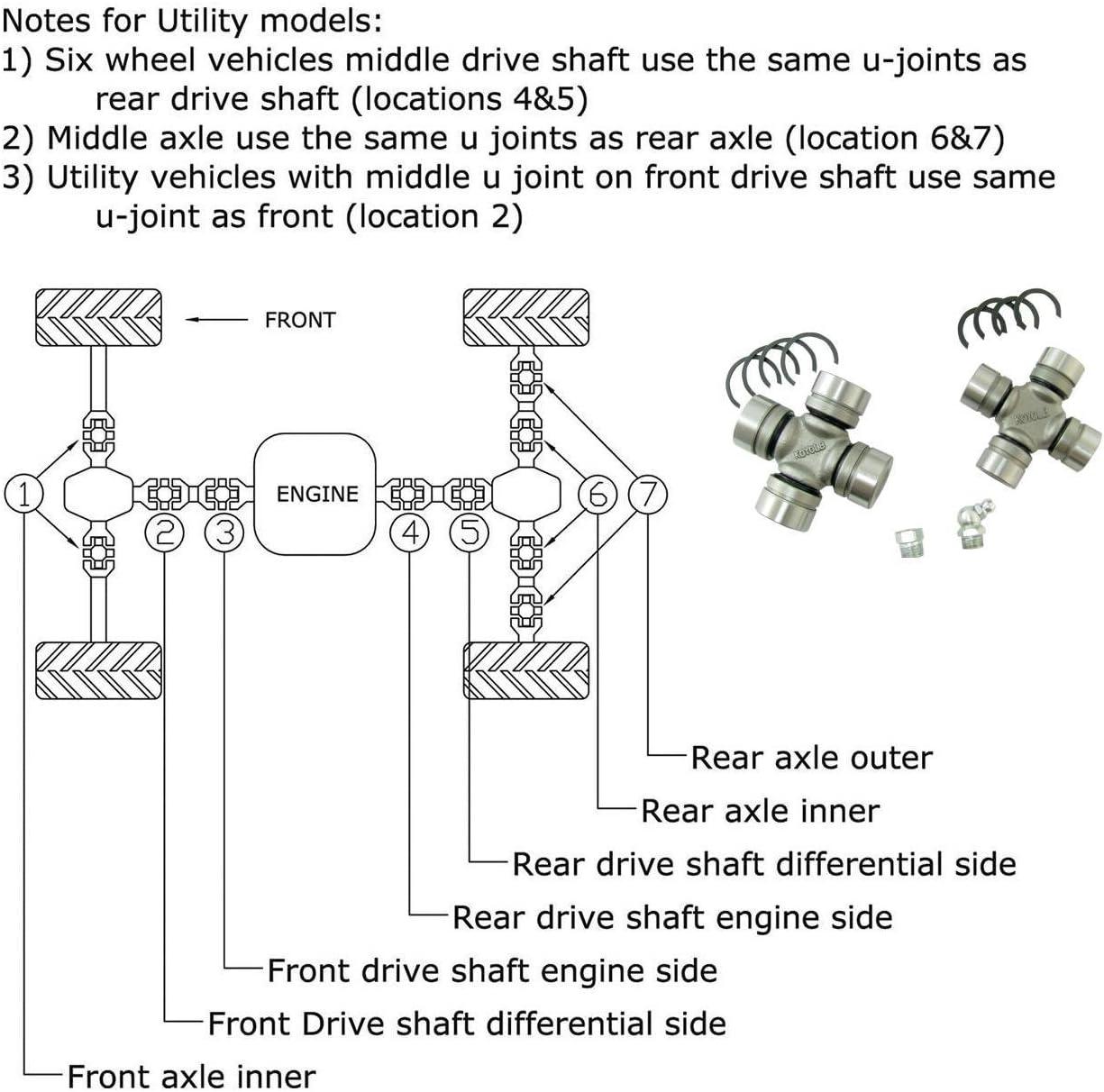 2007  PONTIAC TORRENT UJOINT DRIVESHAFT UNIVERSAL INSTRUCTIONS 2 U JOINTS
