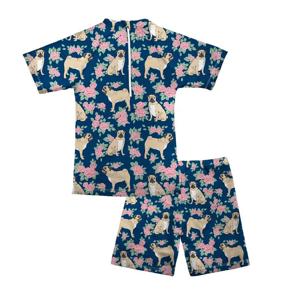 Pensura Boy Two Pieces Swimsuit Set Bulldog Swimwear Short Sleeve Rash Guard
