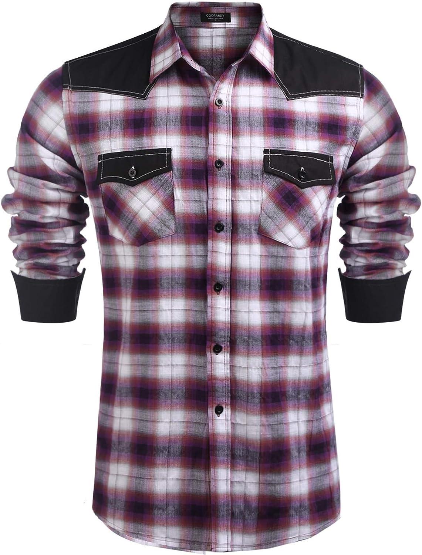 COOFANDY - Camisa de cuadros para hombre de manga larga, diseño de patchwork, estilo occidental Rojo Patrón 3 XXL: Amazon.es: Ropa y accesorios