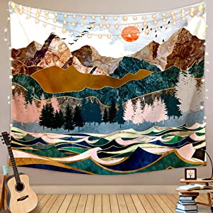 Kernorv Mountain Tapestry, Forest Tree Ocean Wave Wall Tapestry Sunset Nature Landscape Wall Hanging for Bedroom Living Room Dorm Home Decor (51.1x 59 inches)
