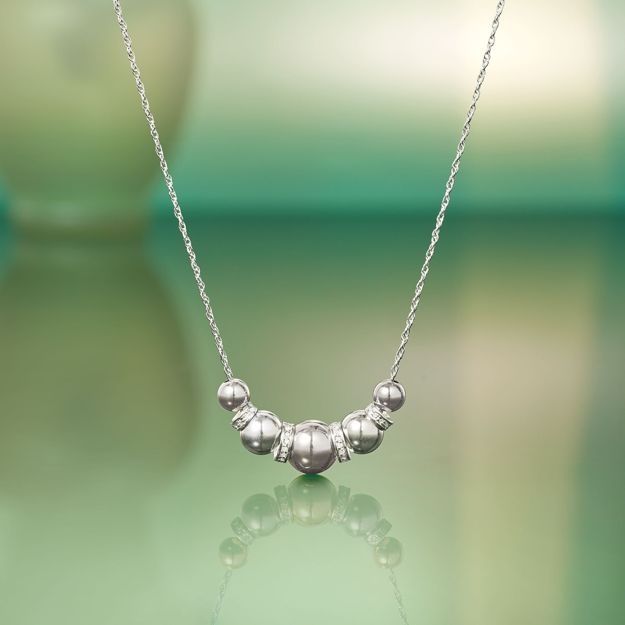 Ross-Simons 6-10mm Sterling Silver Bead Necklace With .20 ct. t.w. Diamonds by Ross-Simons (Image #6)