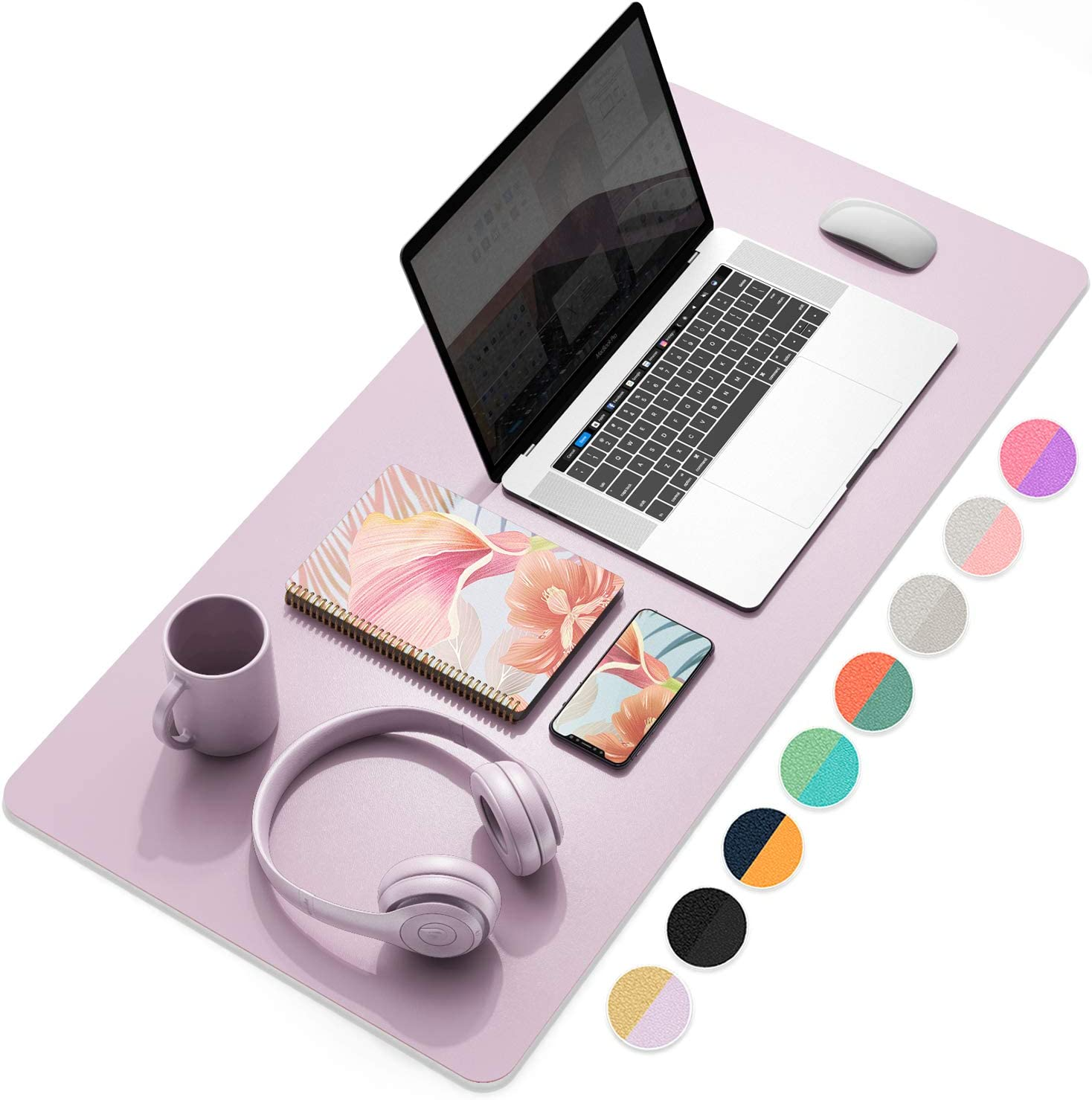 "YSAGi Multifunctional Office Desk Pad, Ultra Thin Waterproof PU Leather Mouse Pad, Dual Use Desk Writing Mat for Office/Home (31.5"" x 15.7"", Grayish Lavendar+Cinnamon Buff)"