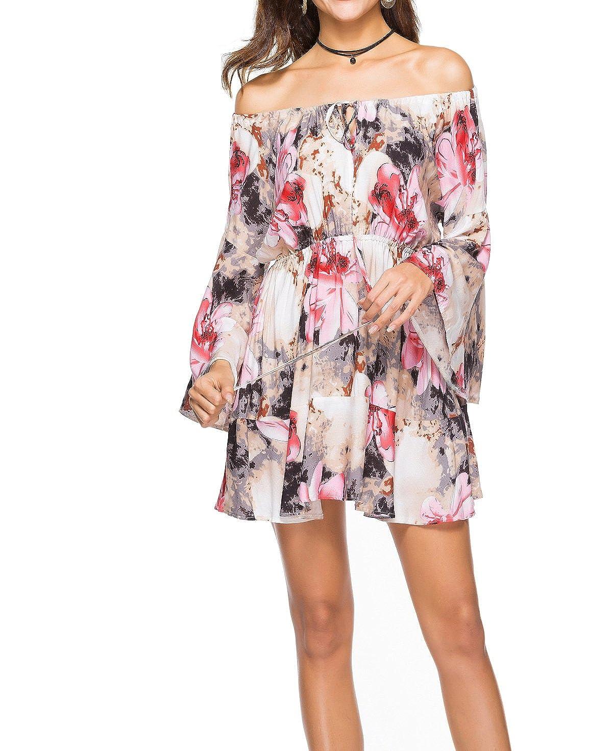 Vestido de Mujer, Lananas 2018 Mujer Fuera del Hombro Volante Fruncido Manga Larga Dobladillo Flor Rosa Impresión Corto Playa Fiesta Dulce Vestir Mini ...