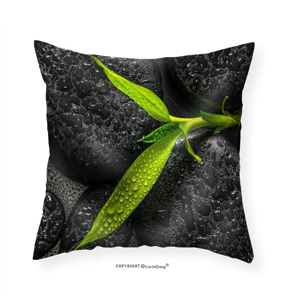 VROSELV Custom Cotton Linen Pillowcase Top Down Closeup Beautiful Spa Composition of Green Branch Bamboo on Zen Basalt Stones - Fabric Home Decor 28''x28''